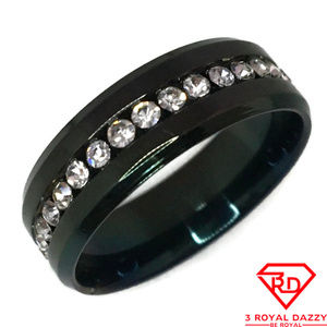 White Cubic Zirconia Ring black gold on Steel s12